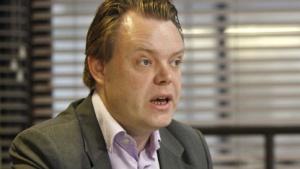 Rick Falkvinge während eines Interviews in Stockholm