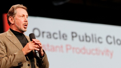 Larry Ellison kündigt die Oracle Public Cloud an.