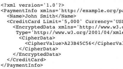 Codebeispiel aus der XML-Encryption-Beschreibung des W3C