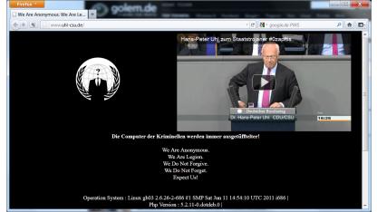 Gehackte Homepage von Hans-Peter Uhl