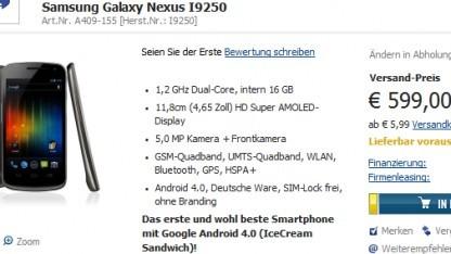 Galaxy Nexus für 600 Euro vorbestellen