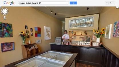Von draußen nach drinnen: 3D-Innenansicht eines Geschäfts in San Francisco
