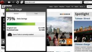 Opera Mobile 11.5 zeigt gespartes Datenvolumen.
