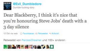 Nicht nur Evil_Dumbledore verspottet RIM wegen der Blackberry-Probleme.