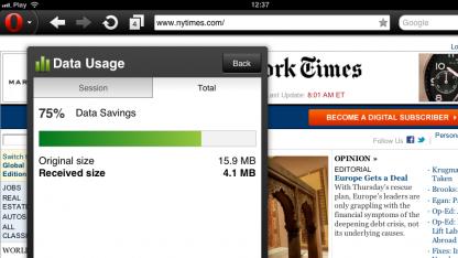 Opera Mini 6.5 mit Datenverbrauchsanzeige