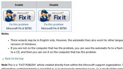 Microsofts Fix-It-Tool schließt die Sicherheitslücke provisorisch.