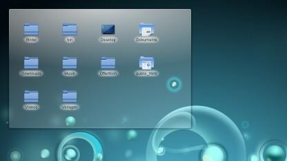 KDE-Plasma-Arbeitsfläche mit Ordneransicht
