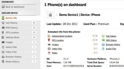 Mobilemonitor zeigt detailliert an, was der Benutzer mit seinem iPhone macht.