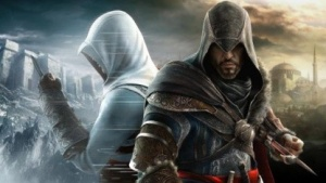 Ezio und Altair stehen Seite an Seite.