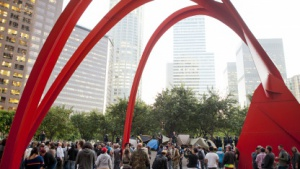 Proteste im Rahmen von Occupy LA vor der Bank of America in Los Angeles am 17. November 2011