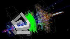 Simuliertes Ereignis im LHCb: Asymmetrie zwischen Materie und Antimaterie?