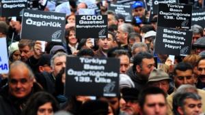 Türkische Journalisten bei einer Anti-Zensur-Demo im März 2011 in Istanbul
