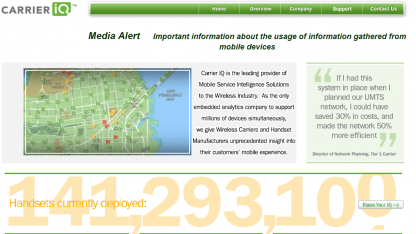 Carrier IQ läuft auf über 140 Millionen Mobiltelefonen.