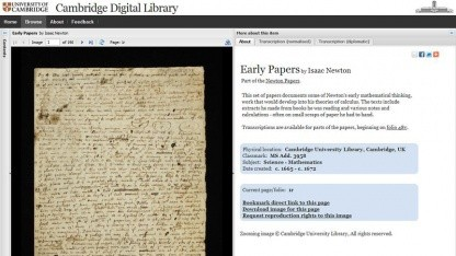 Cambridge Digital Library: Handschrift von Isaac Newton
