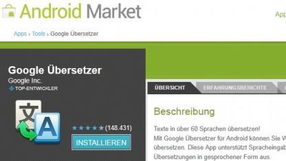 Google Übersetzter für Android in Version 2.3