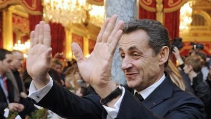 Nicolas Sarkozy bei der Weihnachtsfeier im Élysée-Palast am 14. Dezember 2011