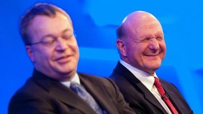 Nokia-Chef Stephen Elop (l.) und Steve Ballmer von Microsoft im Februar 2011