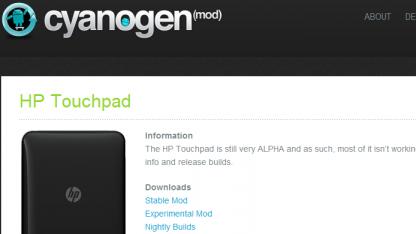 Alpha 0.6 von Cyanogenmod 9 für HPs Touchpad