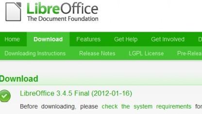 Libreoffice 3.4.5 ist da.