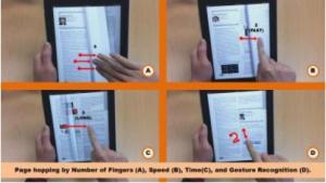 Smart E-Book System: Anzahl der Finger oder Geschwindigkeit der Bewegung