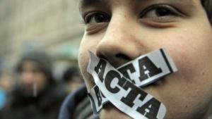 Anti-Acta-Demonstrant am 24. Januar 2012 in Warschau