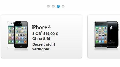 Einige iPhones sind gegenwärtig im deutschen Apple-Onlinestore wegen einer Patenverletzung nicht erhältlich.
