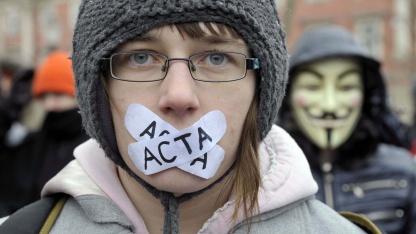 Demonstranten in Slowenien am 4. Februar 2012