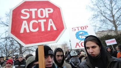 Anti-Acta-Proteste am 11. Februar 2012 in Budapest
