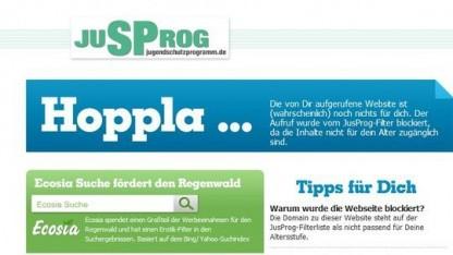 Der Filter von jugendschutzprogramm.de sperrt auch bekannte politische Websites und Blogs aus.