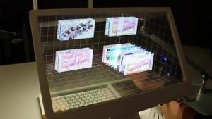 Das transparente Display mit vielen 3D-Fenstern