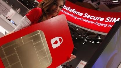 Vodafone stellt Secure-SIM-Karte auf der Cebit 2012 vor.