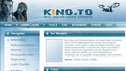 Frühere Homepage von Kino.to