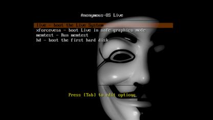 Der Startbildschirm von Anonymous OS