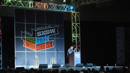 Musiker Bruce Springsteen während einer SXSW-Keynote