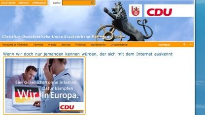 Die manipulierte Webseite der CDU der Stadt Ratingen