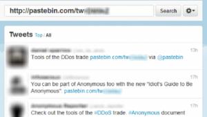 Auf DDoS-Software wird über Twitter hingewiesen.