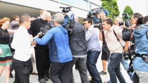 Kim Schmtz nach seiner Freilassung auf Kaution