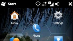 Startbildschirm von Windows Mobile 6.5
