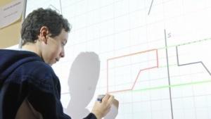 Eine interaktive Tafel, Whiteboard genannt: Ein Projektor wirft dabei die Bilder an die weiße Fläche, eine Kamera erkennt die Handbewegungen.