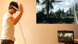Chris Zaharia spielt Skyrim mit Videobrille, Headtracker und Kinect.