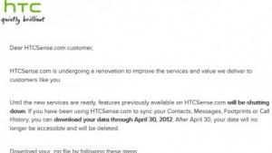 Bisheriges HTCSense.com wird eingestellt.