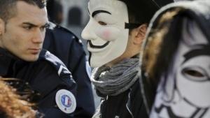 Anti-Acta-Demonstranten mit Guy-Fawkes-Masken in Frankreich im März 2012