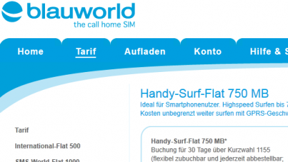 Blauworld startet Handy-Surf-Flat 750 MB.
