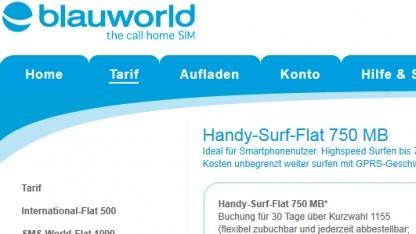 Blauworld startet Handy-Surf-Flat 750 MB.