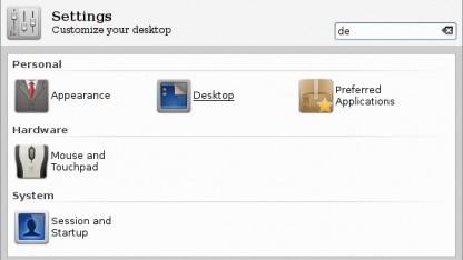 Die Einstellungen von Xfce 4.10 werden in Kategorien gruppiert.