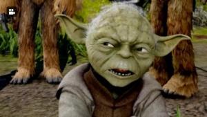 Jedimeister Yoda blickt skeptisch.