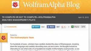 Suchmaschine: Wolfram Alpha analysiert Shakespeare-Dramen