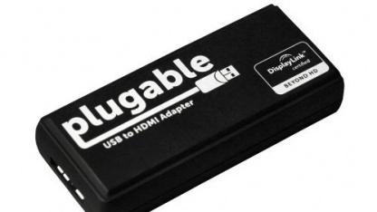 Der Displaylink-Adapter ist kaum größer als ein UMTS-Stick.