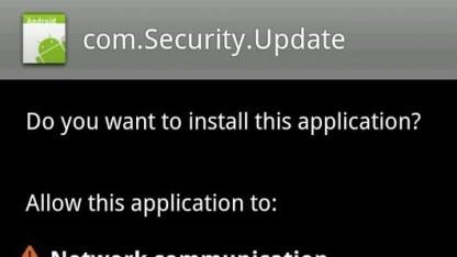 Installationsabfrage der Schadsoftware