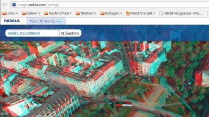Der Oranienplatz in Berlin in Rot-Cyan-3D